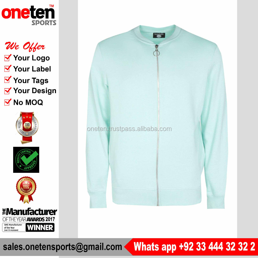 2017 Muscle Fit Jersey Jacket Full Zip Bomber Jersey In Aqua Color Double needle and safety stitching