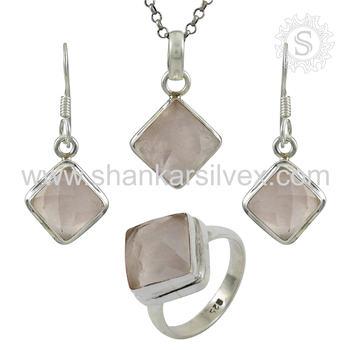 Beautiful rose quartz jewelry set handmade 925 sterling silver jewelry online wholesale