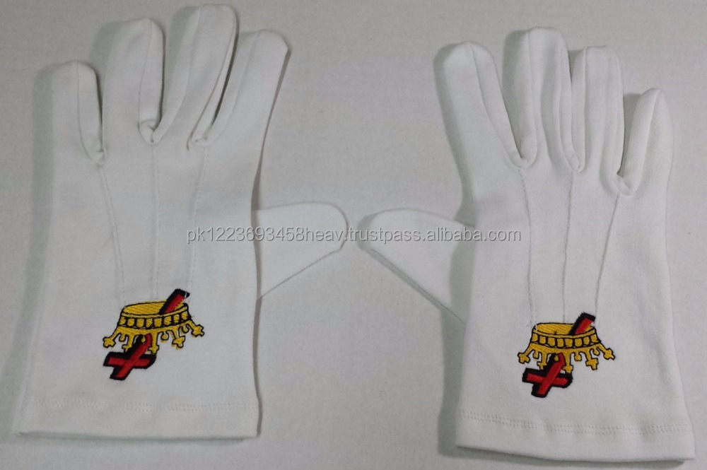 Masonic Regalia Knight Templar KT Cotton white Gloves Handmade Best Quality