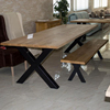 Dining table X solid oak wood with iron legs 240x100cm.