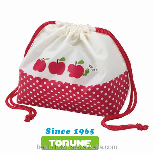 Lunch Bag Apple (Pouch Type)/cotton drawstring bag, red dot, kids lunch bag, drawstring bag, a drawstring pouch, bag for lunch