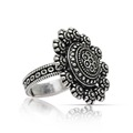 Floral Design Silver Color Oxidised Ring