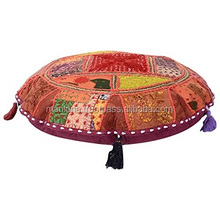 Handmade Round Floor Cushion Cover,decorative Patchwork Roundies Moroccan pouf