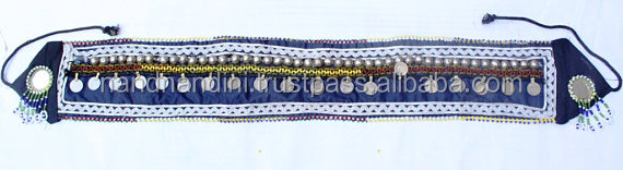 Indian Unisex Banjara Belt Indian Tribal Gypsy Boho Mirror Old Coin Work Antique Banjara belly dance belly dance Banjara belt