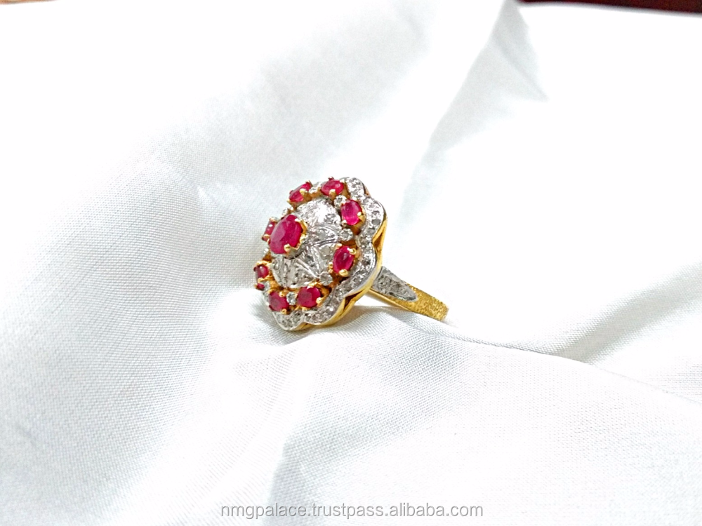 18k yellow gold customized natural diamond ruby ring