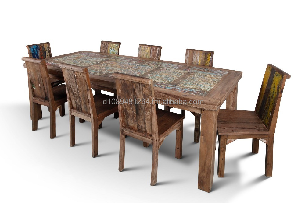 Reclaimed Boat Wood Dining Table - Rustic Finish - Wholesale - Call/Whatsapp: +628122833040