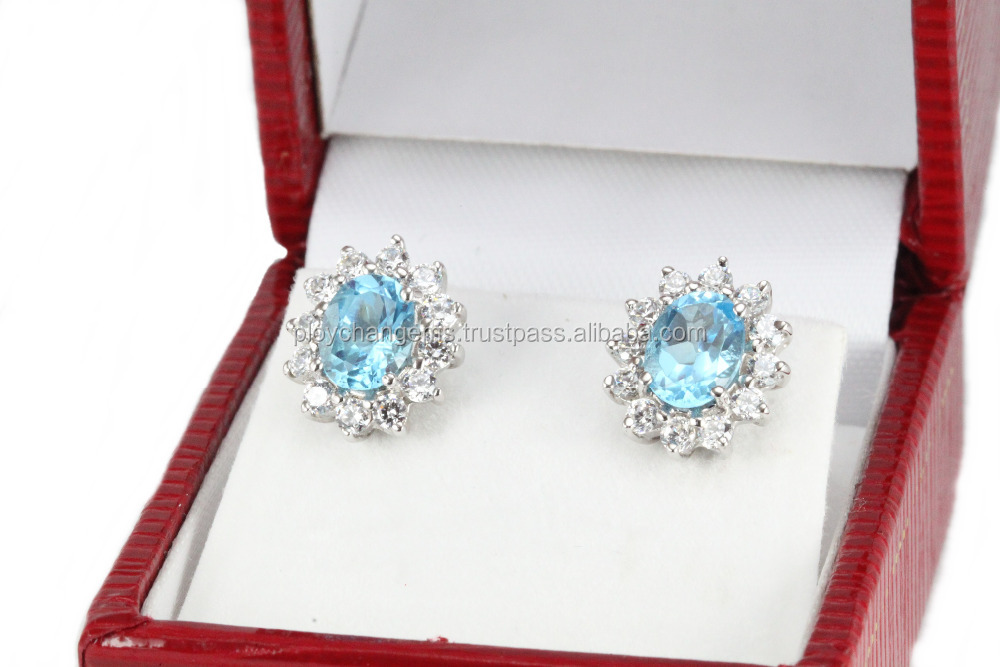 Thailand jewelry, Silver 925 handmade, Earring gemstone, engagement, wedding, special gift,Blue Topaz