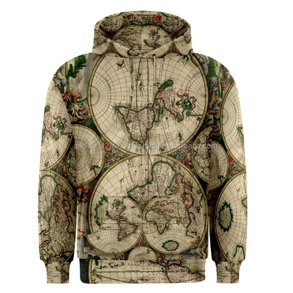 World Map Sublimated Sublimation Hoodie