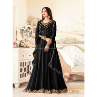 Black Georgette Floor Length Anarkali Suit Online / Salwar Kameez At Wholesale Price / Buy Georgette Anarkali Suit Online