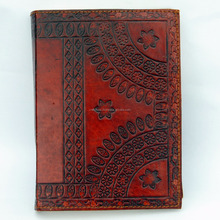 Handmade leather cover embossed vintage diary wholesale personalized notebook