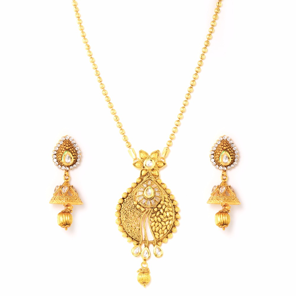 Variation Gold Plated Traditional Indian Jewellery Necklace Set with Earring for Women