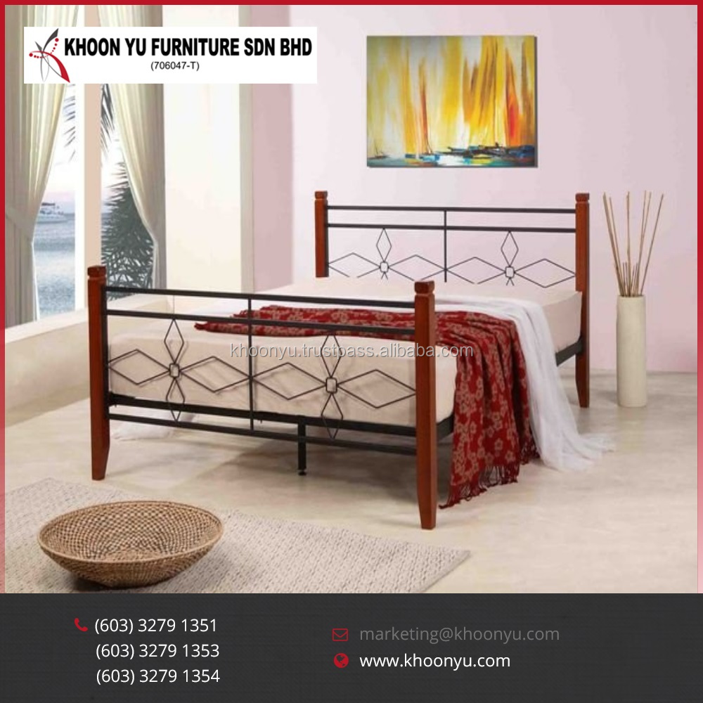 Alibaba Best Selling Master Bedroom Set Iwa Modern Steel Double Bed Furniture