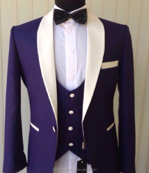 2017 New Style Men's Designer 3 pieces Groom Wedding Suit with 3 color