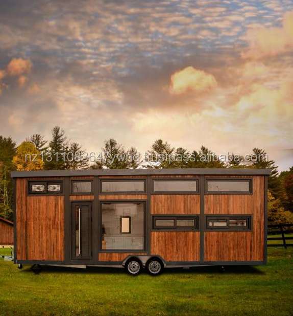 Steel structure prefabricated tiny mobile living house on wheels
