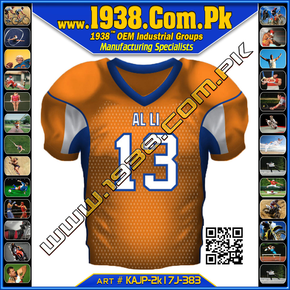VEGAS GOLD AMERICAN FOOTBALL JERSEY -- 100% POLYESTER AMERICAN FOOTBAll VEGAS GOLD COLOR