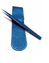 (Blue)Tweezers I Type for Eyelash Extensions with pouch