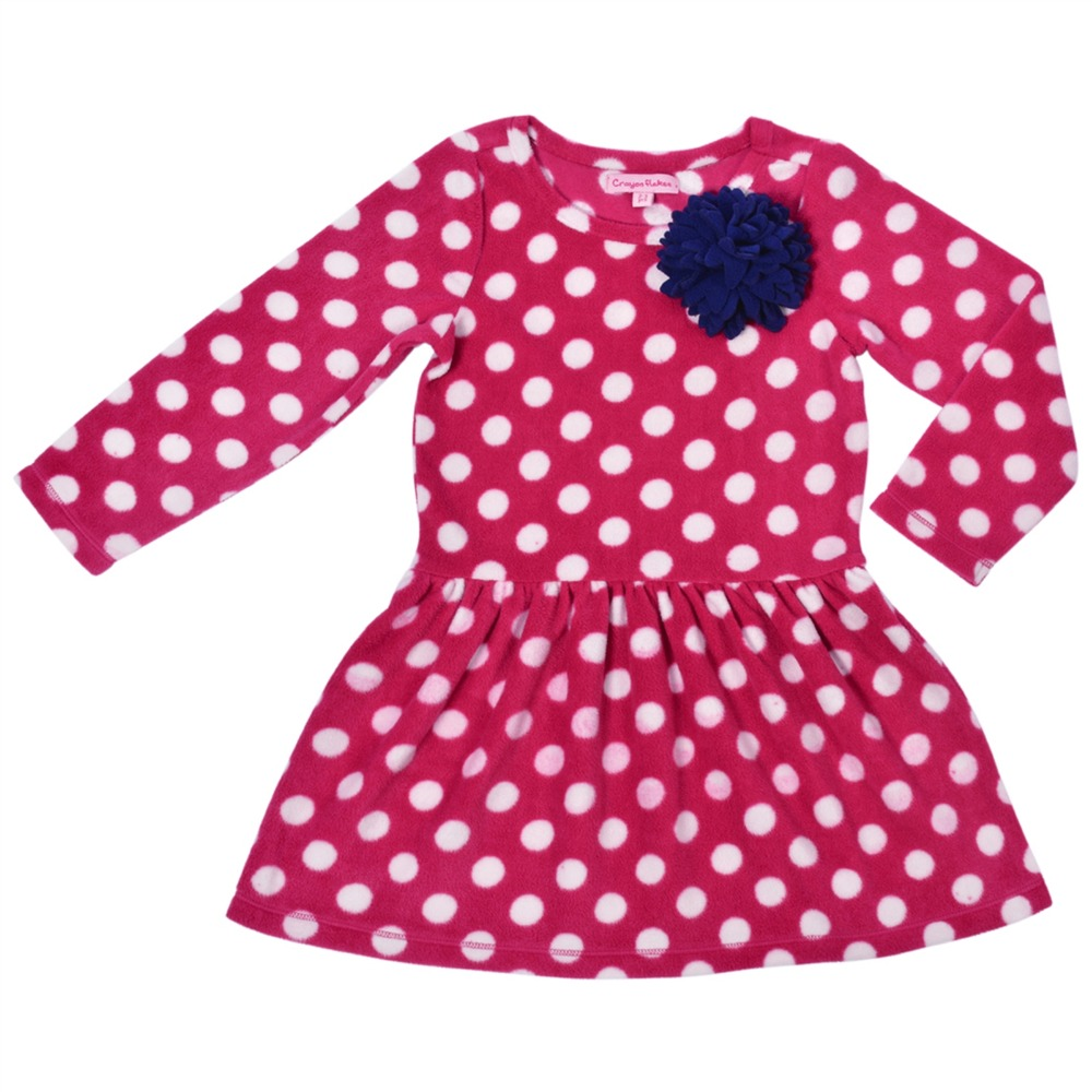 CrayonFlakes Kids Wear for Girls Pink Full Sleeves Fleece Frock