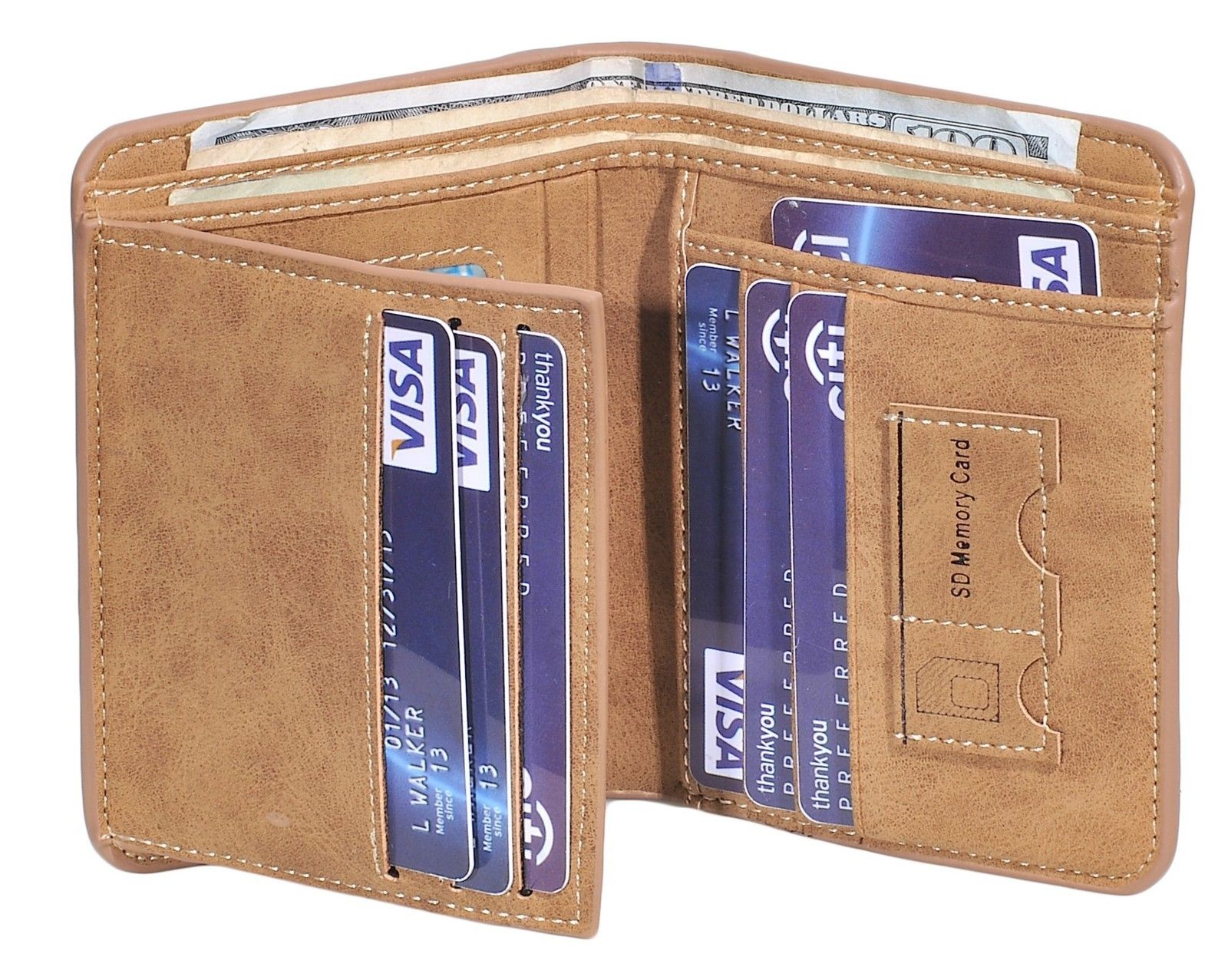 Bifold Wallet With Small 2 Sim Card Pockets For Men's PU Leather