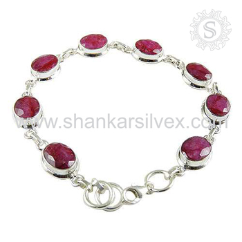 Lavish ruby gemstone bracelet handmade 925 sterling silver jewelry bracelets wholesaler india