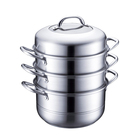 3-layer  stainless steel stack and steamer pot set with glass lid