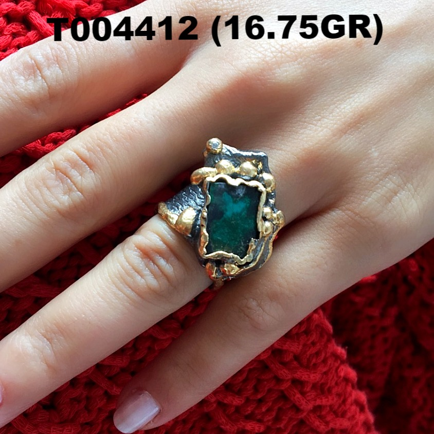 Wholesale Gold Plated Authentic 925 Sterling Silver Jewelry Emerald Ring