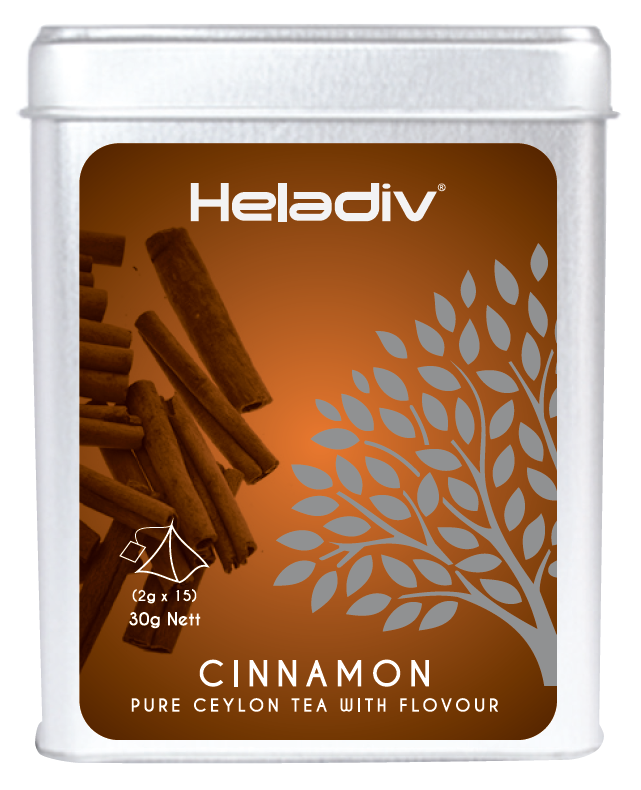 Heladiv CINNOMON flavoured Ceylon black tea 2g * 15 Pyramid Tea bags in Tin ISO22000
