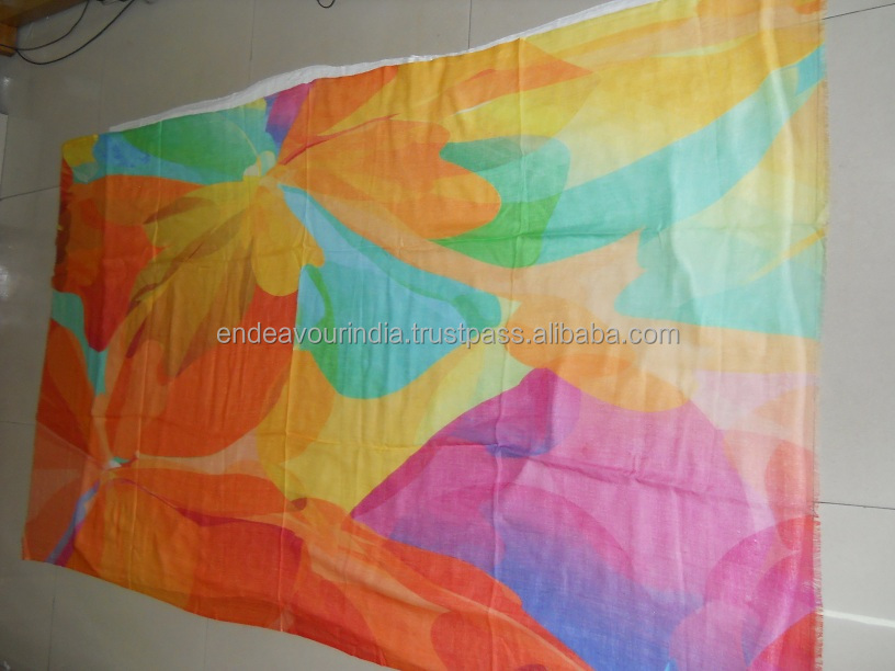 Stunning abstract floral design Digital Printed on Linen Cotton Modal Scarf