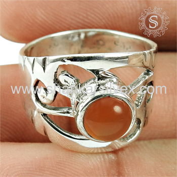 Latticed silver band ring red carnelian gemstone jewellery 925 sterling silver wholesale jewelry exporter
