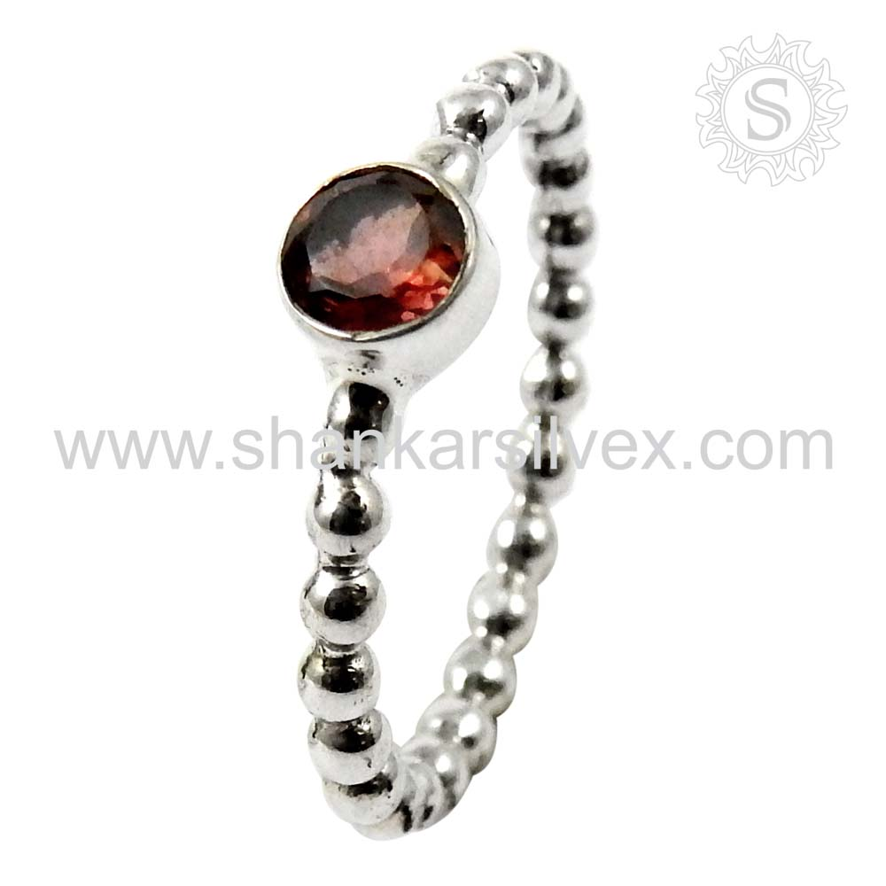 Famous lavish design garnet ring 925 sterling gemstone silver ring wholesale jewellery supplier
