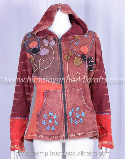ENZYME WASH BOHEMIAN LADIES HOODIE CSWJ 473