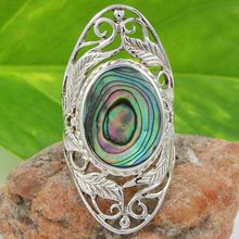 Long women ring abalone shell gemstone 925 sterling silver ring jewelry wholesale handmade gemstone ring