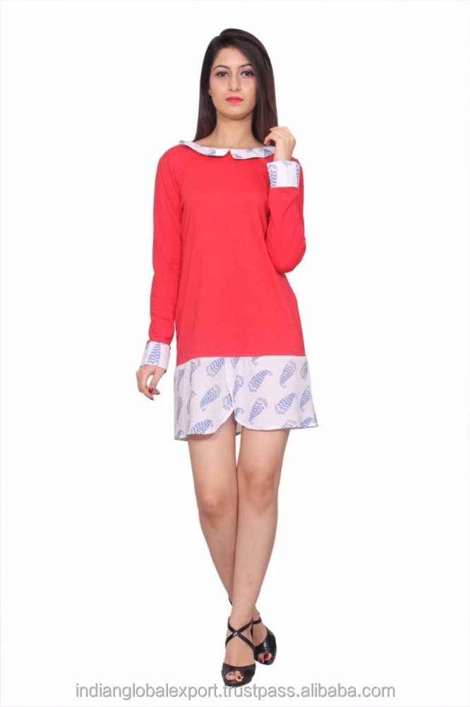 Red casual short dress for girls