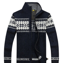 Men's computer knitted full zip sweater