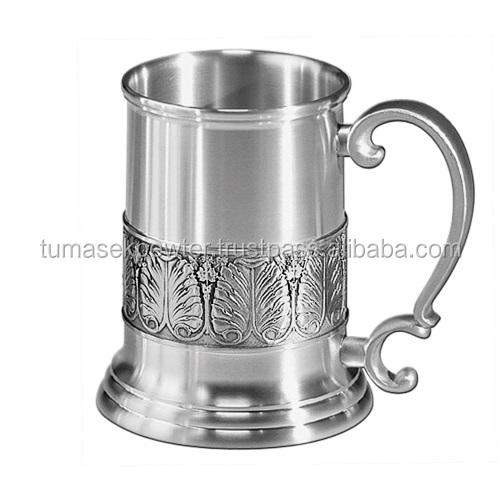 Personalisable 60cl Pewter Tankard/Mug with 3D laurel motif