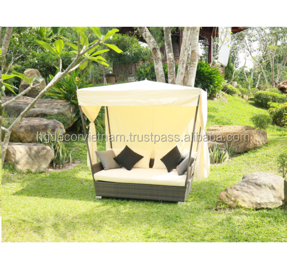 New design poly rattan sunbed with cushion and curtain, high quality product, Viet Nam producer