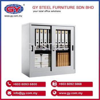 Half Height Glass Sliding Door Office Steel File Cabinet Cupboard Price Furniture Malaysia
