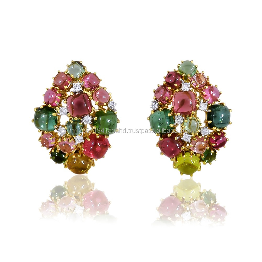 dubai gold earrings tops design with Natural Multi Tourmaline and Natural diamonds