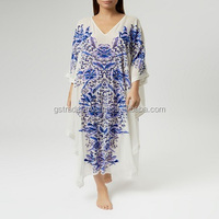 Digital print Embellished Printed Silk-georgette Kaftan dress Turkish Digital Print Kaftan