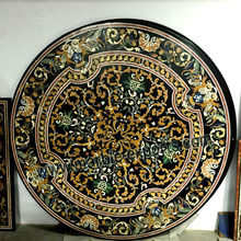 STONE MARBLE INLAID ROUND PIETRA DURA DINING TABLE TOP