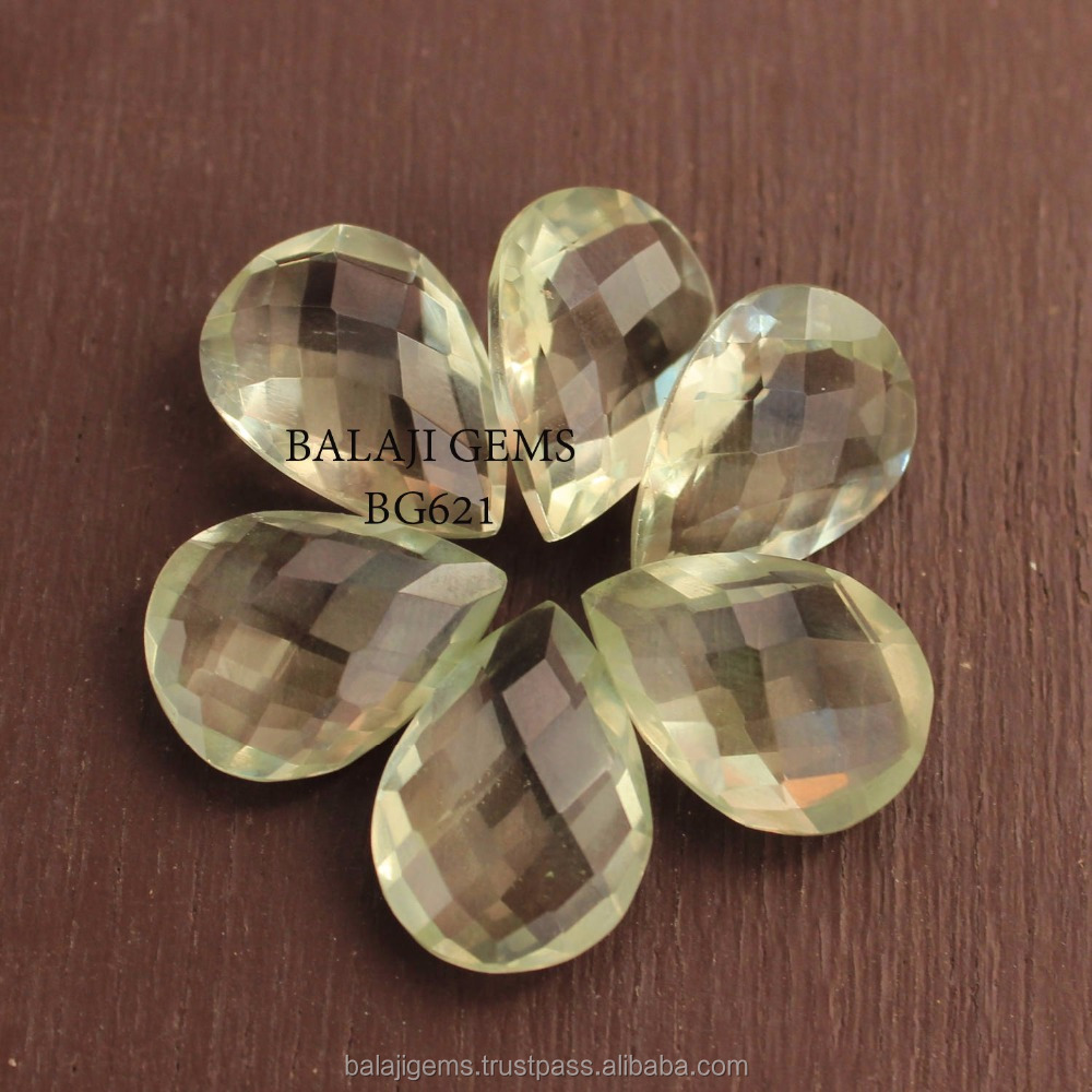 Cheap Wholesale Price Natural Green Amethyst 7x9 mm Faceted Loose Gemstone