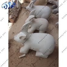 Popular White Sandstone Semi Polished Garden Decor Standing Small Rabbit Statue
