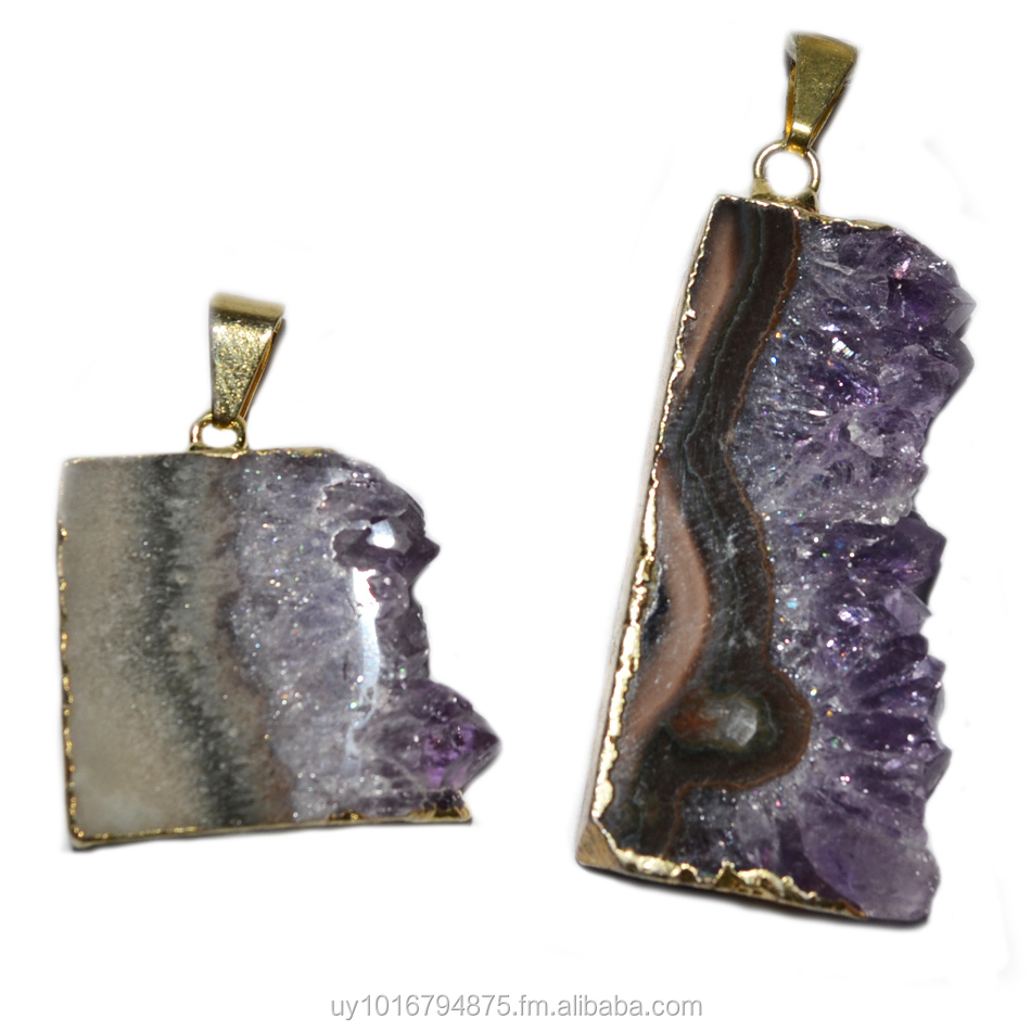 AMETHYST SLICES JEWELRY IN GOLD OR SILVER PLATING