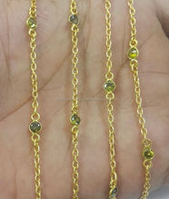 Peridot Green Cubic Zirconia Connector Chain - Gold Plated Bezel Chain 4mm Round Diamond Cut Stone Chain - Sold By Foot