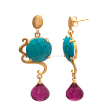 Two Gemstone Cool Combination Dazzling Style Turquoise and Pink Tourmaline Earring