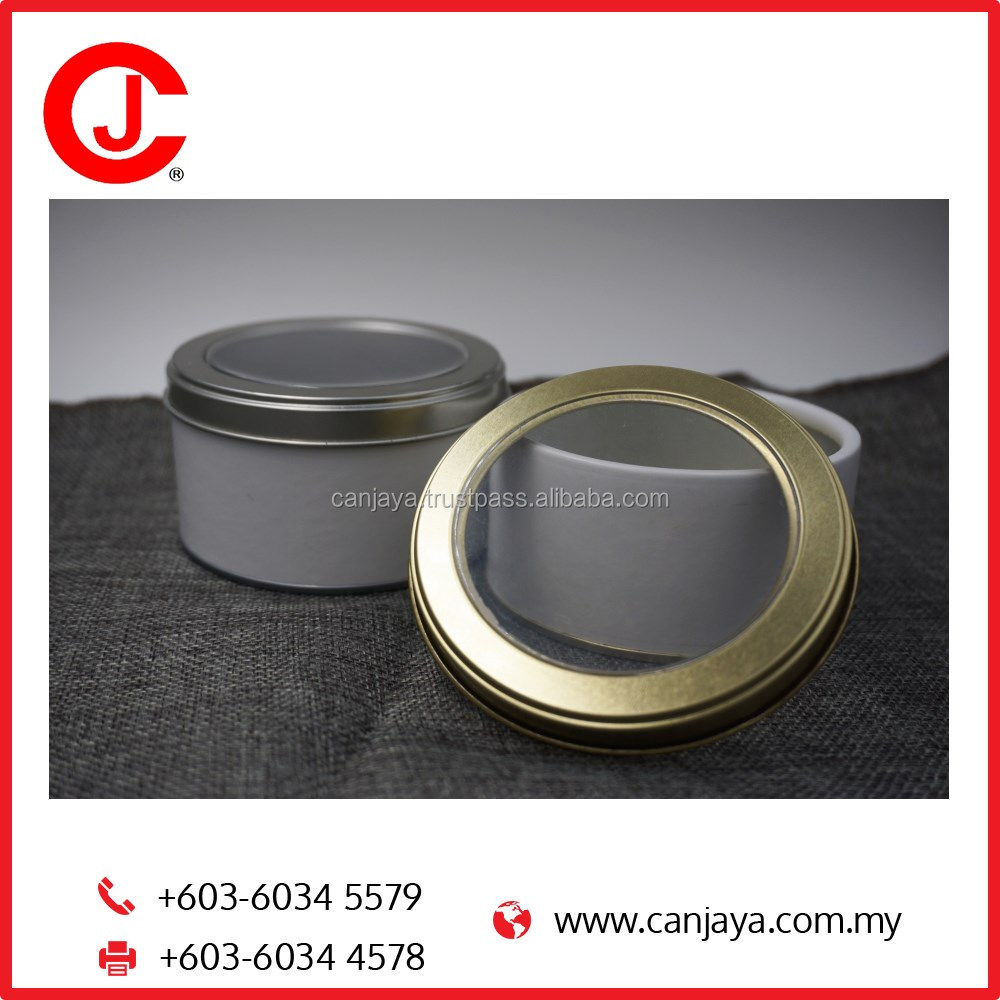 Aluminum Open Window Canister For Gift Chocolate Round Cylinder Shape Box