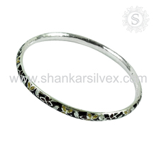 Beautiful enamel bangle silver jewelry handmade 925 sterling silver jewellery wholesaler silver bangles