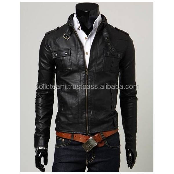 Wholesale Tall Leather Motorcycle Jacket with Vents Top Quality Tall Leather Jacket