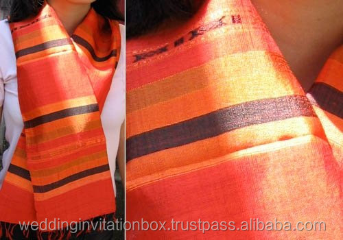 Thai Made Orange Handwoven Stripe Pattern Silk Scarf