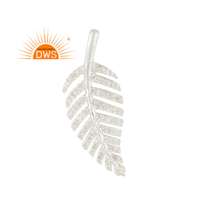 Natural White Topaz Gemstone Leaf Design Pendant 925 Silver Women Pendant Wholesale Jewelry