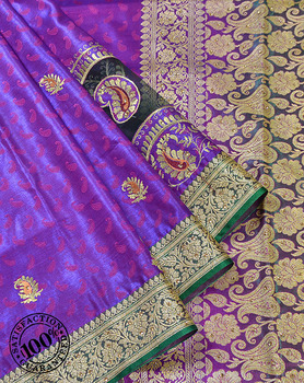 Bollywood Style Banarasi Art Silk Saree Purple Art Silk Paisley Thread and Zari Weaving Banarasi Saree